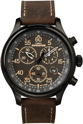 Timex T49905 Men's Expedition Rugged Field Chronograph Brown Leather Band Watch