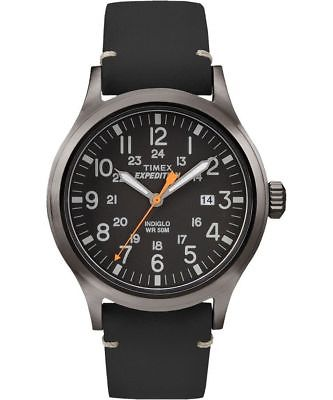 Timex TW4B01900 Men's Expedition Scout Military Indiglo Black Leather Band Watch