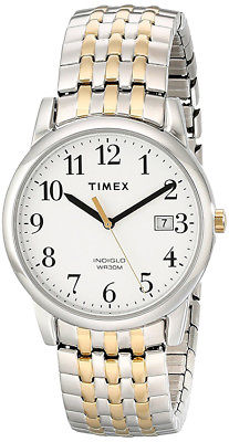 Timex Men's Easy Reader Two-Tone Stainless Steel White Dial Watch T2P295