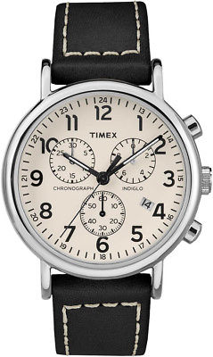 Timex TW2R42800 Weekender Chronograph 40mm Indiglo Leather Band Analog Watch