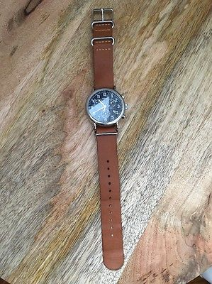Timex TW2P62300 Weekender Chronograph Blue Dial Brown Leather Strap Men's Watch
