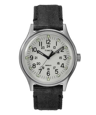 TIMEX   TODD SNYDER MK1 STEEL WATCH WITH WHITE DIAL 40MM INDIGLO