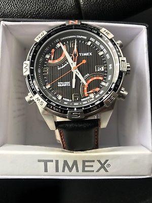 Timex Intelligent Quartz Chronograph Compas Mens Watch.  Water Resistent Leather