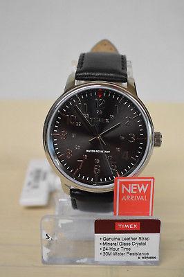 NEW Timex Mens Analog Watch w/ black leather strap TW2R85500