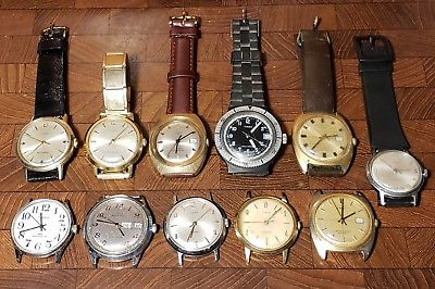 Lot of (11) Vintage Timex Manual Wind & Automatic Wrist Watches - All Working
