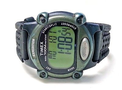 Timex Expedition Indiglo Digital Watch WR 100m 39mm Green Black Mens New Battery