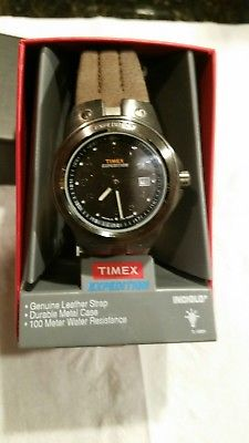 Men's Timex Expedition Watch with Leather Band and Indiglo