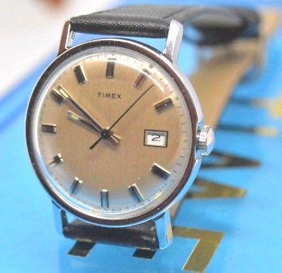 Vintage 1977 mens MERCURY Timex Watch  silver dial lumi hands Runs serviced