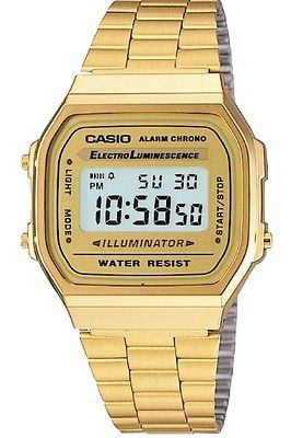 CASIO MEN'S GOLD TONE STAINLESS STEEL DIGITAL WATCH A168WG