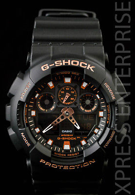 NEW WITH TAGS Casio Gshock X-Large Ana-Digi GA100GBX-1A4 BLACK ROSE GOLD Watch