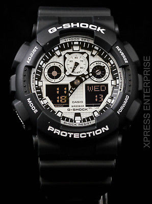 NEW WITH TAGS Casio Gshock X-Large Ana-Digi GA100BW-1A BLACK WHITE Watch