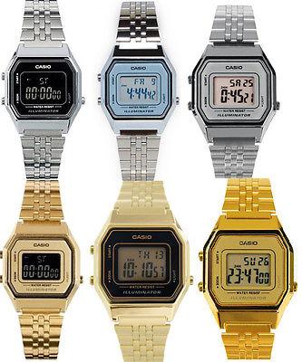Casio Women's Digital Stopwatch Silver/Gold Tone Stainless Steel Watch LA680W