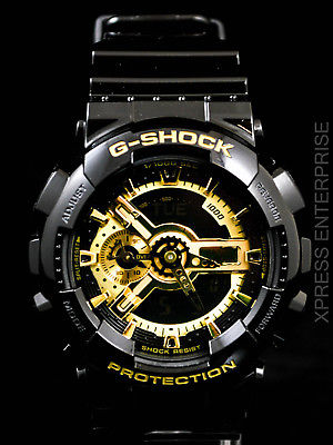 NEW WITH TAGS Casio Gshock X-Large Ana-Digi GA110GB-1A BLACK GOLD Watch