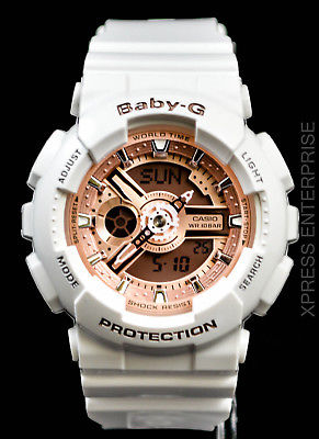 NEW WITH TAGS Casio Baby-G Analog Digital BA110-7A1 WHITE PINK Watch