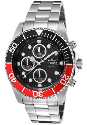 Invicta Men's 1770 Pro Diver Chronograph 43mm Black Dial Steel-Tone Watch