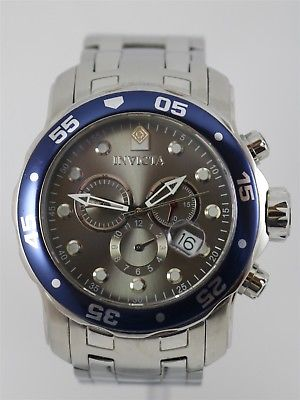 Invicta Pro Diver Model 80059 Caliber VD53 Gray Chrono Dial Stainless Case