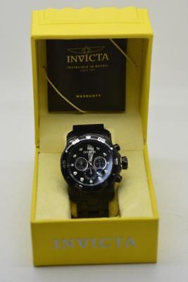 Invicta 0076 Men's Pro Diver Black Dial Steel Bracelet Chrono Watch {70792B42}