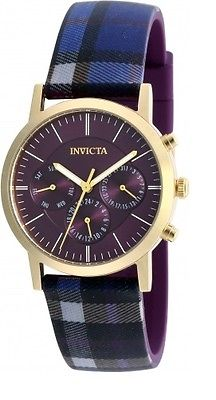 Invicta 20085 Heritage Collection Day Date 24hr Plaid Silicone Strap Mens Watch