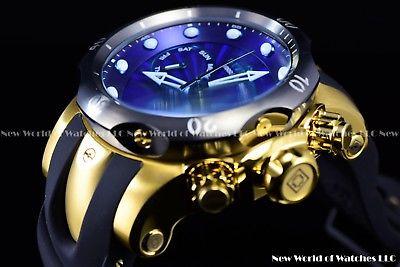 New Invicta Men's 52mm Venom Swiss Gold Chrono Deep Blue Dial 18K GP SS Watch