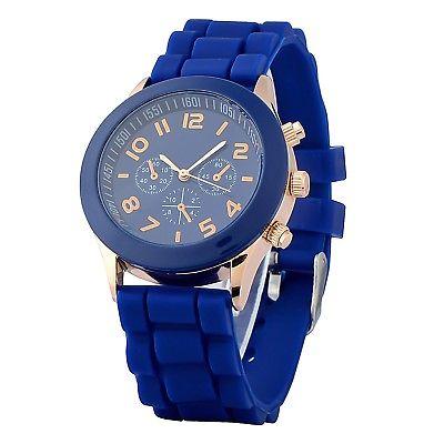 Zodaca Dark Blue Analog Quartz Silicone Jelly Sports Watch