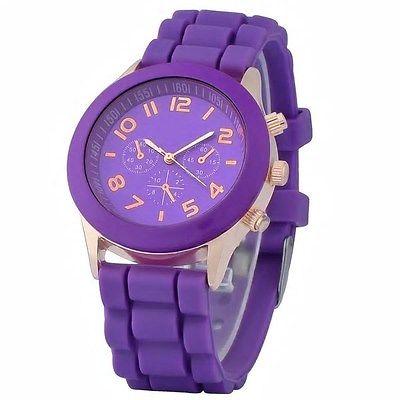 Ladies Zodaca Purple Analog Quartz Silicone Jelly Sports w/Gold Watch Face Dial
