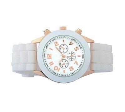 Zodaca White Unisex Men Women Silicone Jelly Quartz Analog Sports Wrist Watch Ne