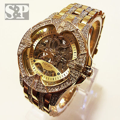 Elgin Iced Out Mens Skeleton Automatic Gold Plated Luxury Crystal Wrist Watch