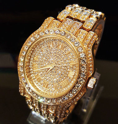 Elgin Iced Out Men�s Skeleton Automatic Gold Plated Luxury Crystal Wrist Watch