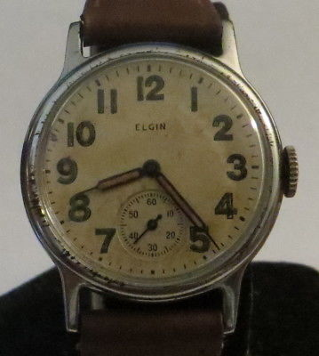 Elgin Military Wristwatch, WWII (1943), Cal. 580, US Army, Running