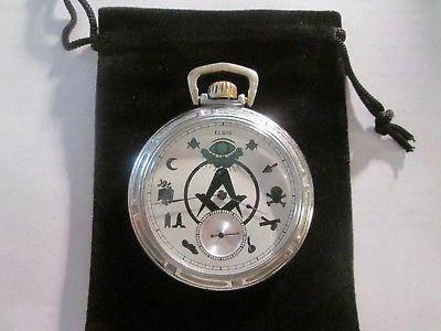 1907 16S Elgin 15J Pocket Watch Nice Green/white Masonic Theme Dial Runs Well.