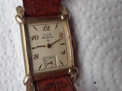 vintage wristwatch ELGIN de Luxe 17 j 10 k gold filled FANCY lugs cal 624