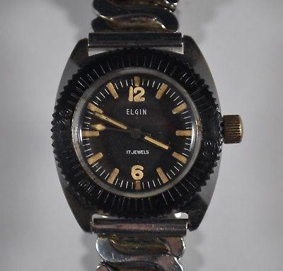 Vintage 1960s Elgin Ladies Diver Wristwatch 17j - Good Working