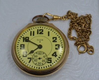 Antique Gold Tone ELGIN B.W. Raymond 21 Jewels Pocket Watch with G/F CHAIN #M