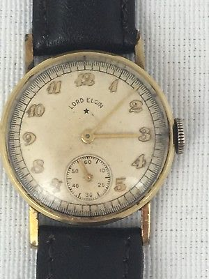 Lord Elgin Men's Watch 14k Gold Filled Mechanical Wind Up Leather Band wa1