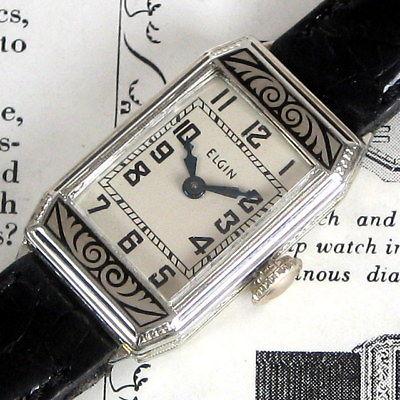 Ladies MINT 1927 Elgin 14K SOLID GOLD Engraved ENAMELED Vintage Art Deco Watch