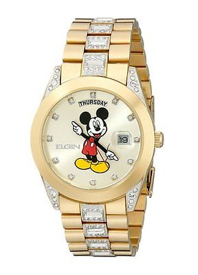 New Mens Elgin Disney Mickey Mouse Day Date Gold Tone Bracelet 45mm Watch