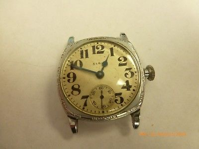 Vintage Elgin WWI Era Trench Military Cushion Case Manual Wind Watch Nice Dial
